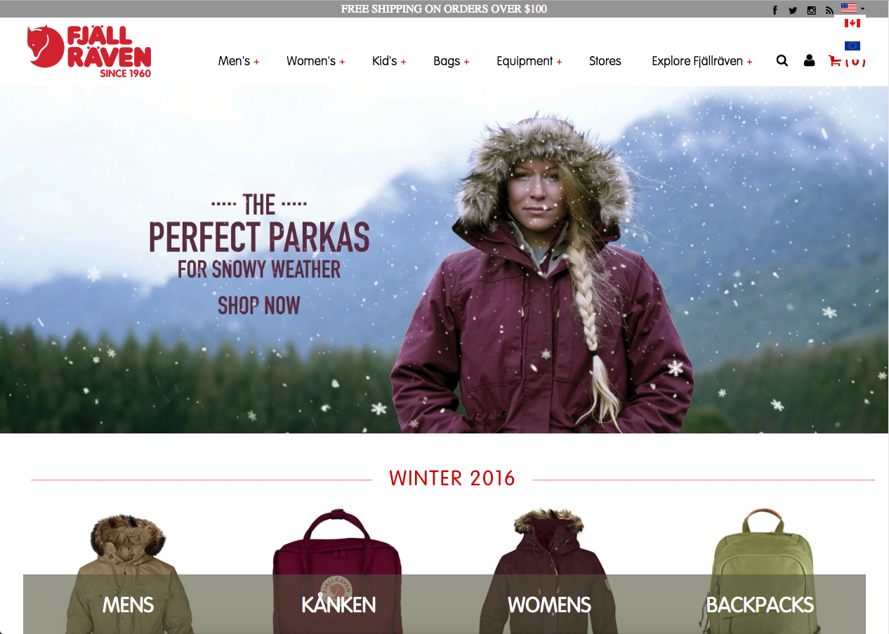 Fjallraven - International Website Review by IDM